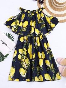 Off The Shoulder Limonin Print Overlay Dress