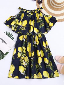 Off The Shoulder Limonin Print Overlay Dress