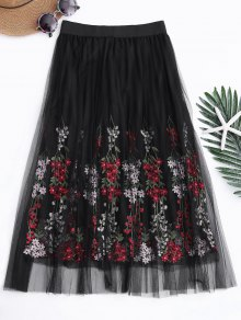Layered Embroidered High Waisted Mesh Skirt