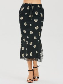 Floral Slit Lace Panel Maxi Skirt