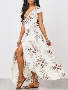 Floral Cap Sleeve Wrap Maxi Dress