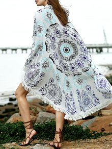Printed Convertible Round Shape Cape Cover Up