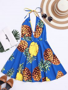 Tropical Pineapple Halter Swing Dress - Blue M