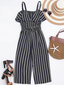 Cami Ruffles Striped Shirred Waist Jumpsuit - Stripe M