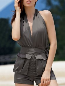 Halter Backless Big Pocket Romper