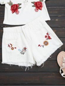 Embroidered Frayed Hem Ripped Denim Short