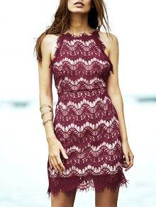 Red Lace Spaghetti Straps Semi Formal Dress