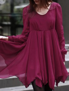Long Sleeve Chiffon Flowing Dress