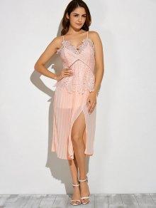 Slit Lace Spliced Slip Dress