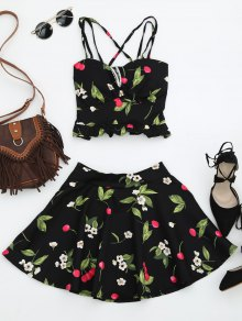 Cherry Print Two Piece Skater Dress