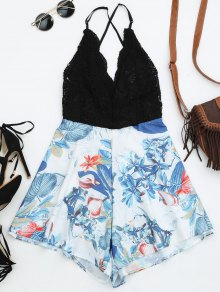 Backless Tropical Print Beach Romper
