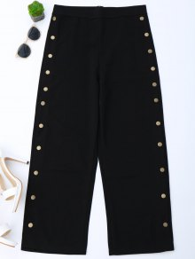 High Waisted Buttons Side Gaucho Pants - Black S