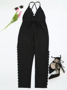 Scalloped Straight Cut Suspender Pants - Black M