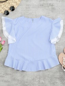 Round Neck Striped Ruffle Sleeve Blouse