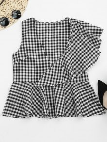 Asymmetric Ruffles Gingham Peplum Top