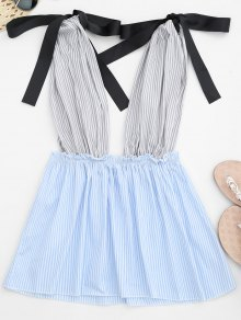 Striped Plunge Peplum Tank Top - Strip Pattern S