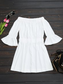 Bell Cuffs Off The Shoulder Dress - White S