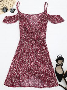Tiny Floral Crossover Cold Shoulder Dress - Red M