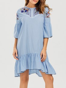 Striped Crochet Panel Embroidered Casual Dress