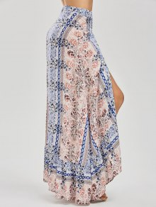 Printed Asymmetrical Wrap Skirt - Floral S