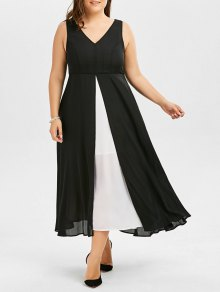 V Neck Plus Size Color Block Tea Length Dress - Black 2xl