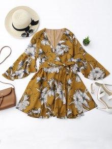 Belted Flare Sleeve Floral Surplice Dress - Floral L