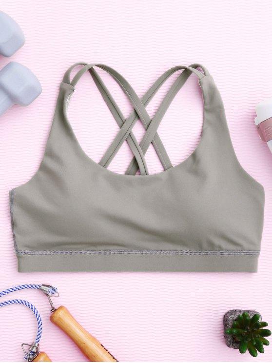fashion Strappy Crossover Sports Bra - GRAY M