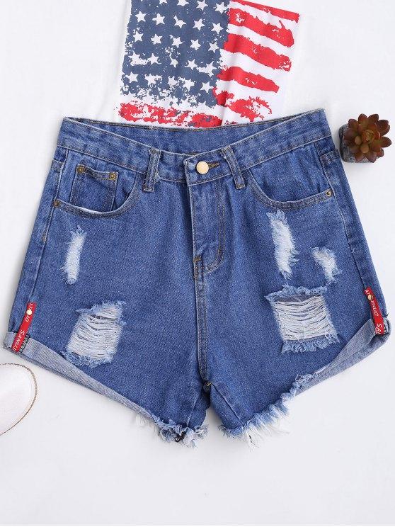 Pantalones cortos con cintura alta y ondulada - Azul S