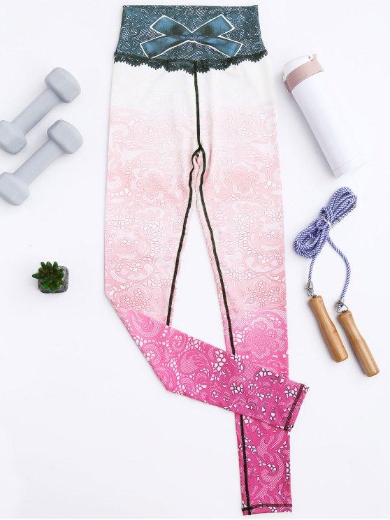 women's Print Lace Ombre Stirrup Leggings - PINKISH PURPLE L
