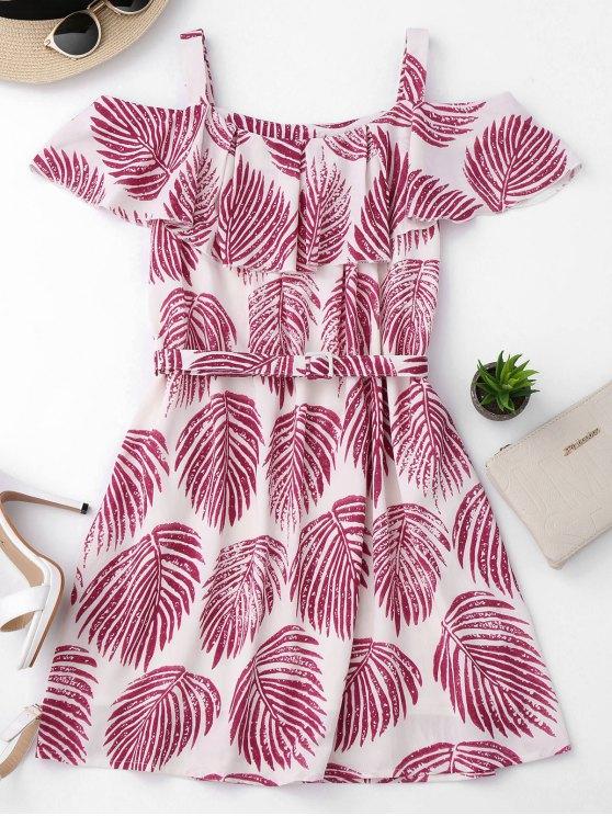 Tropical hombro frío vestido de una línea - Colormix M