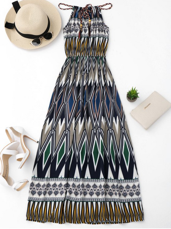 outfits Beach Geometric Print Maxi Dress - COLORMIX ONE SIZE