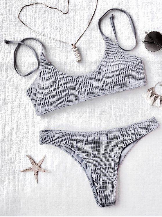 shop Padded Smocked Bralette Bikini Set - GRAY S