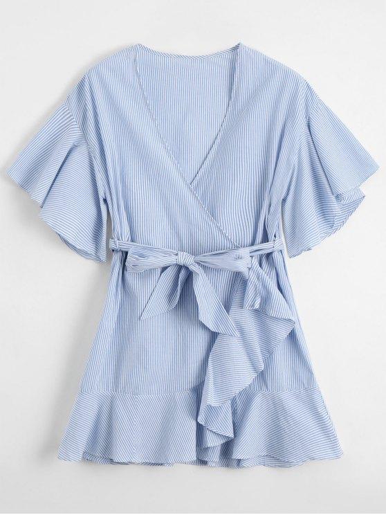outfit Low Cut Short Striped Wrap Dress - LIGHT BLUE S