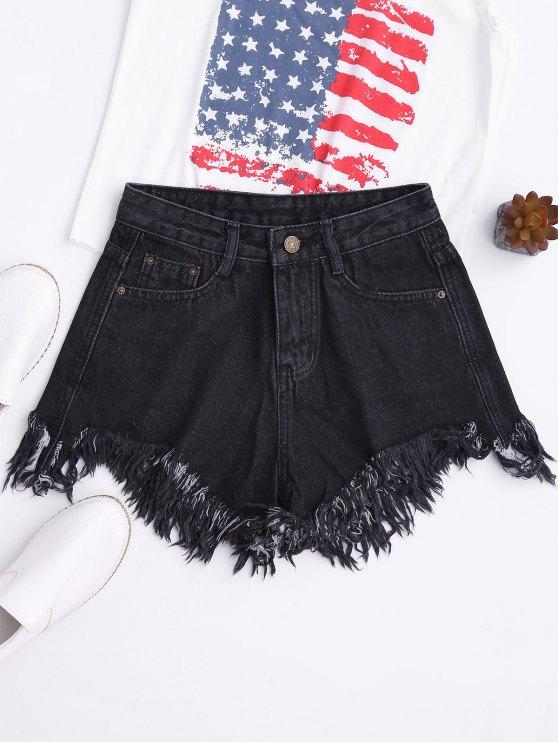 Pantalones cortos de pierna ancha - Negro M