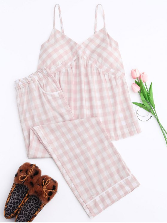 women's Padded Checked Cami Top with Pants Loungewear - PINK S