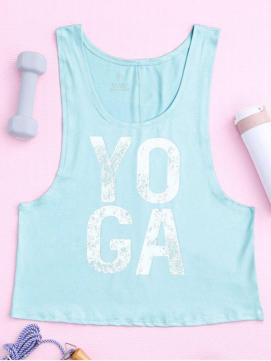 trendy Yoga Dropped Armhole Sports Tank Top - PHOTO CYAN L