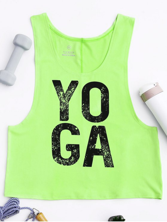 chic Yoga Dropped Armhole Sports Tank Top - FLUORESCENT YELLOW L