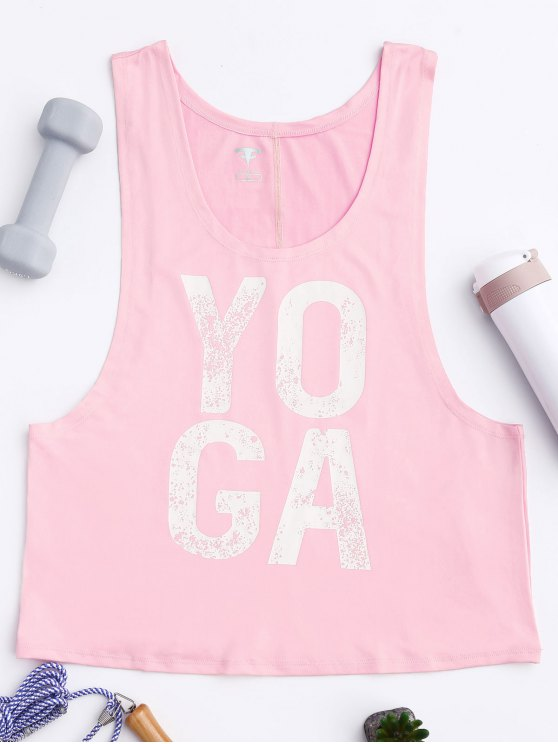 sale Yoga Dropped Armhole Sports Tank Top - PINK M