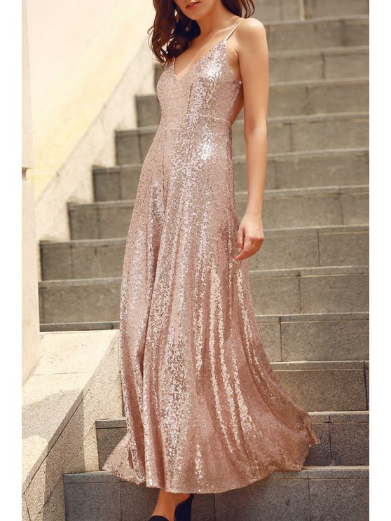 affordable Backless Sequins Spaghetti Strap Maxi Dress - PINK L