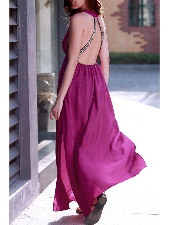 trendy Purple Plunging Neck Backless Maxi Dress - PURPLE L