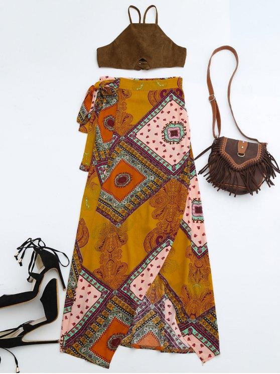 online Cropped Faux Suede Top and Wrap Tribal Print Maxi Skirt - COLORMIX M