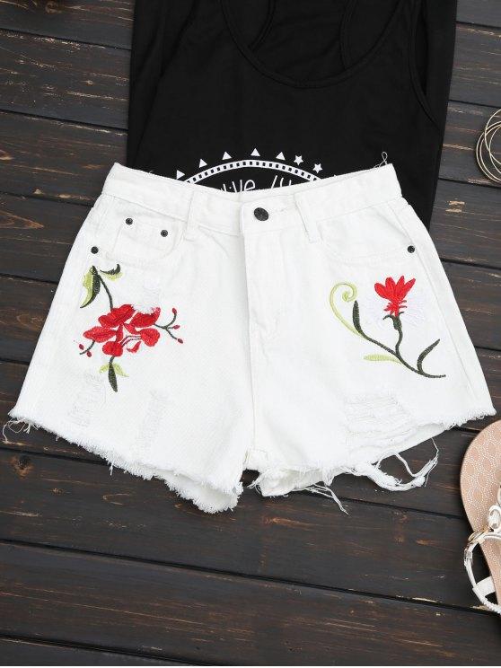 Bordados Ripped Denim Cutoff Shorts - Blanco M