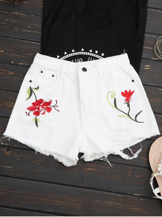 Bordados Ripped Denim Cutoff Shorts - Blanco L