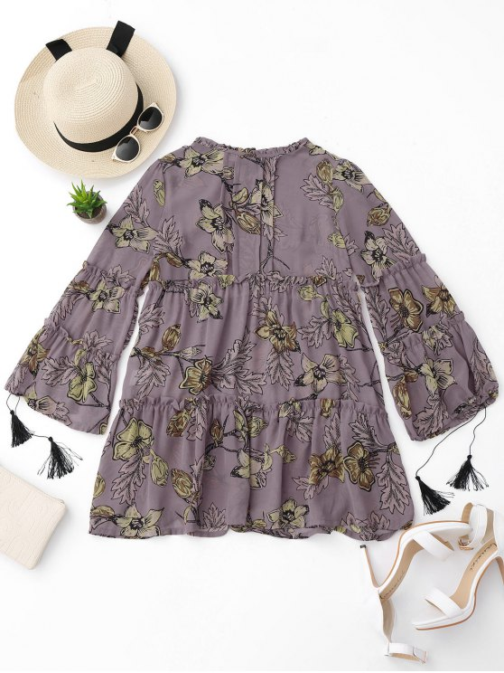 ladies Ruffles Floral Tunic Dress - FLORAL L