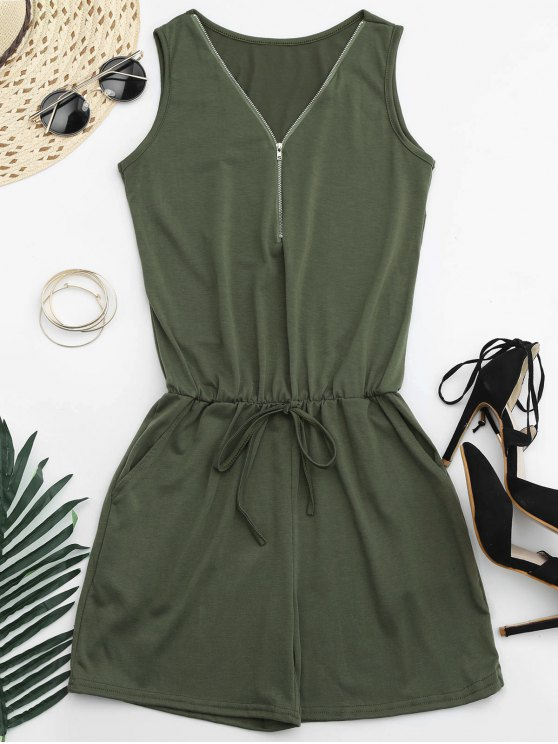 sale Belted Half Zip Romper - ARMY GREEN 2XL
