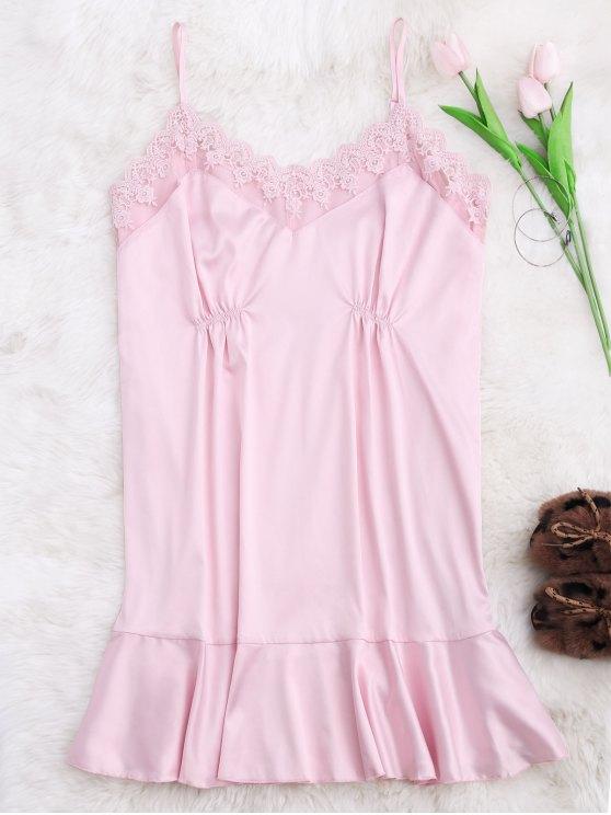 online Lace Trim Satin Cami Sleep Dress - PINK S
