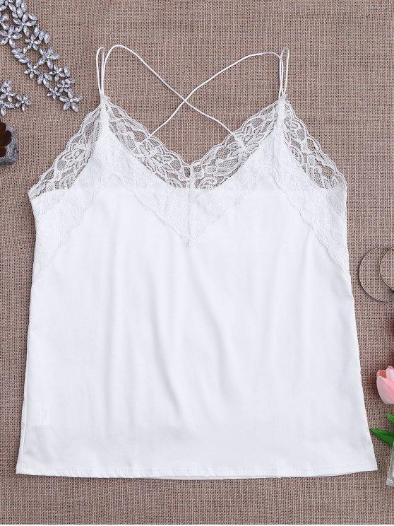 best Satin Lace Trim Strappy Cami Sleep Top - WHITE L