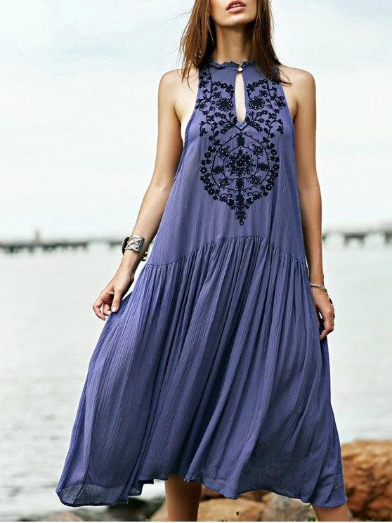 Brodé de perles robe bohème - Bleu L