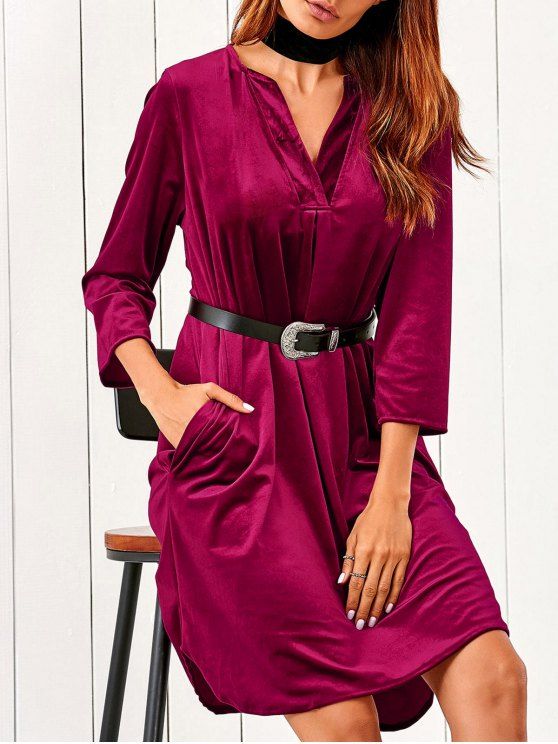 latest V Neck Pockets Midi Velvet Dress - RED L