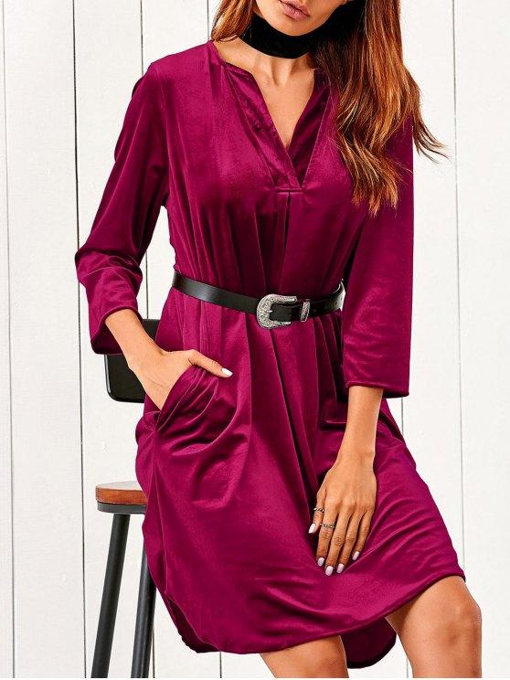 fashion V Neck Pockets Midi Velvet Dress - RED S